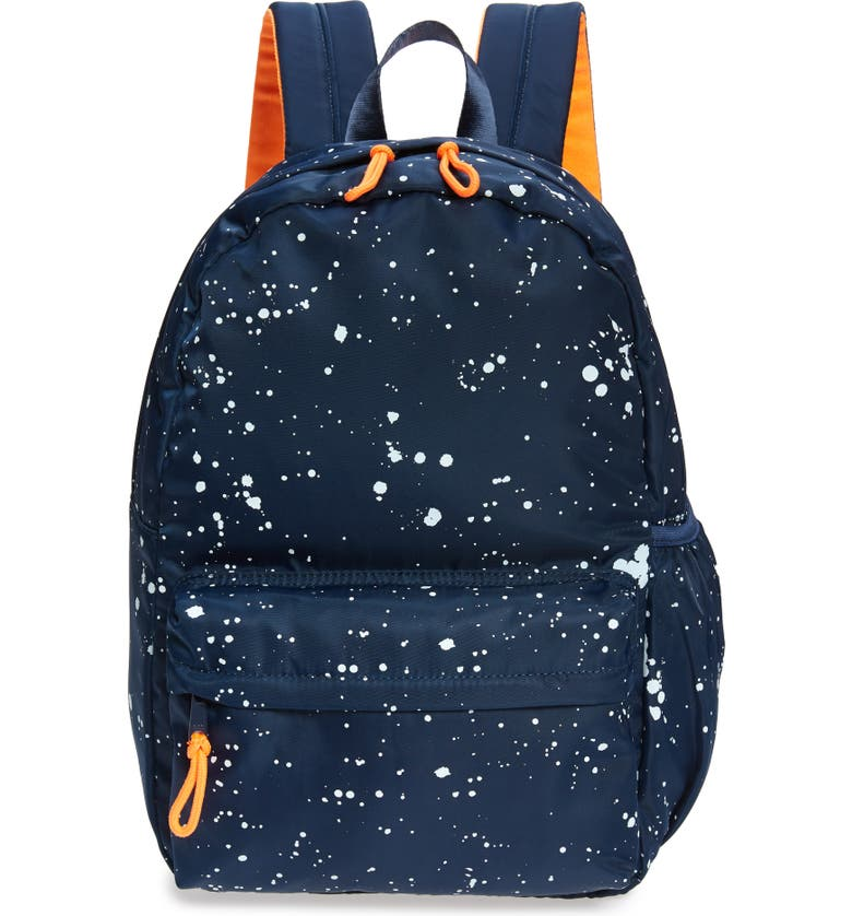 CREWCUTS BY J.CREW Splatter Print Backpack, Main, color, NAVY