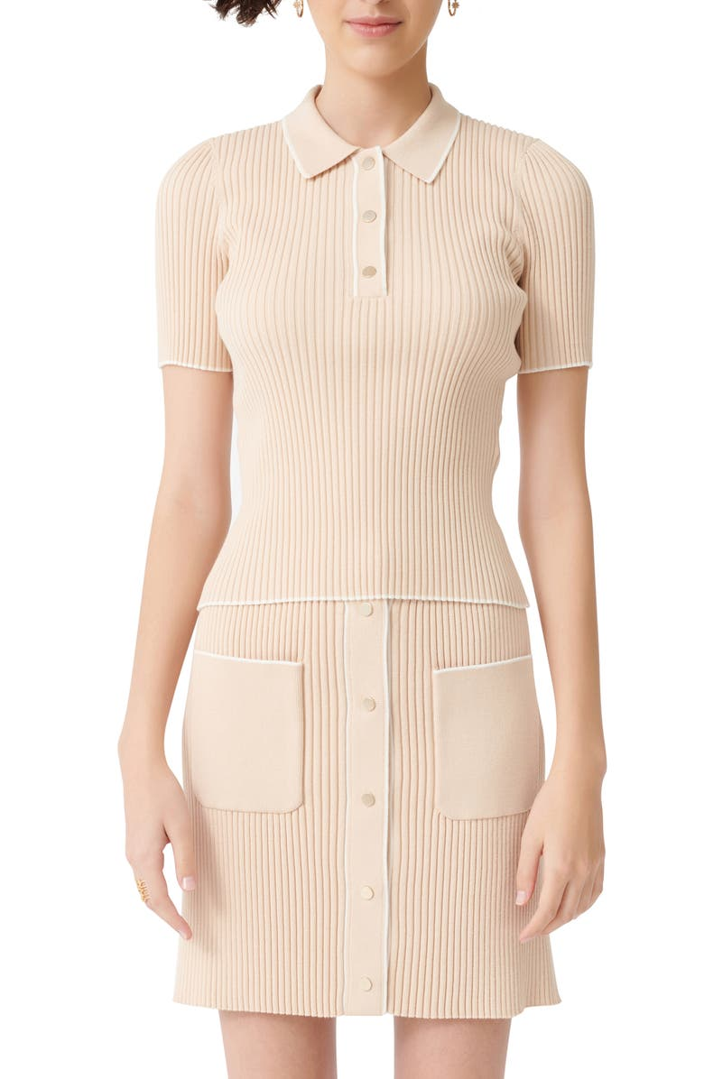 MAJE Marina Tipped Detail Ribbed Short Sleeve Sweater, Main, color, BEIGE