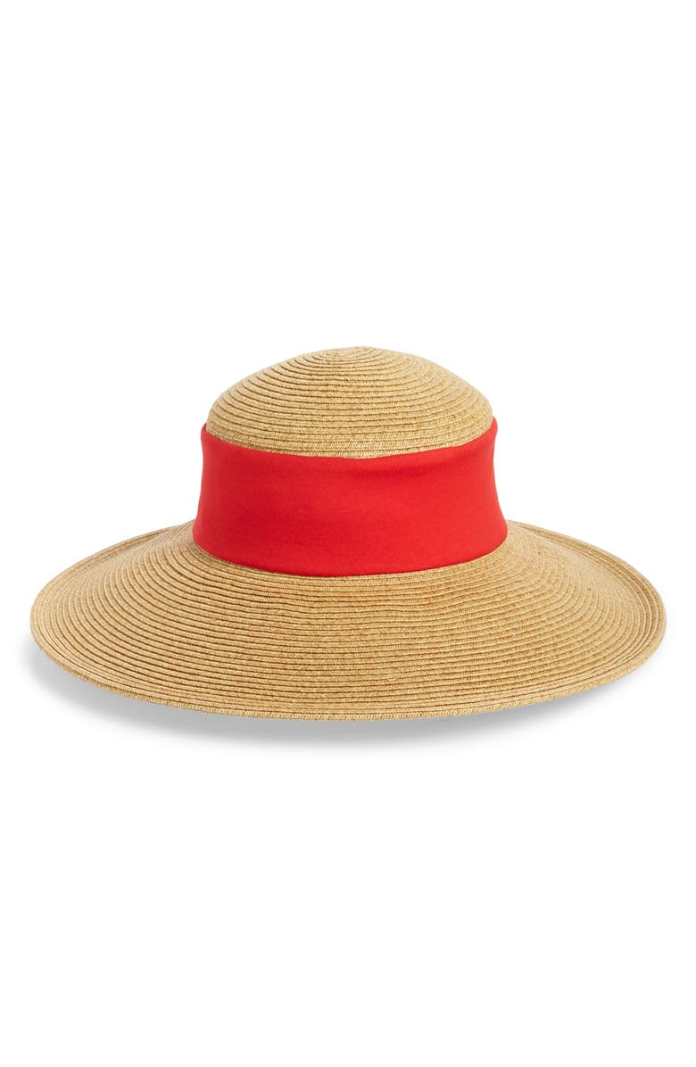 SAN DIEGO HAT Collapsible Crown Sun Hat, Main, color, RED