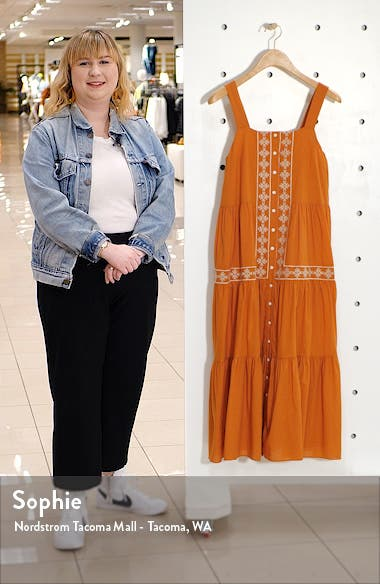 Embroidered Button Front Tiered Midi Dress, sales video thumbnail