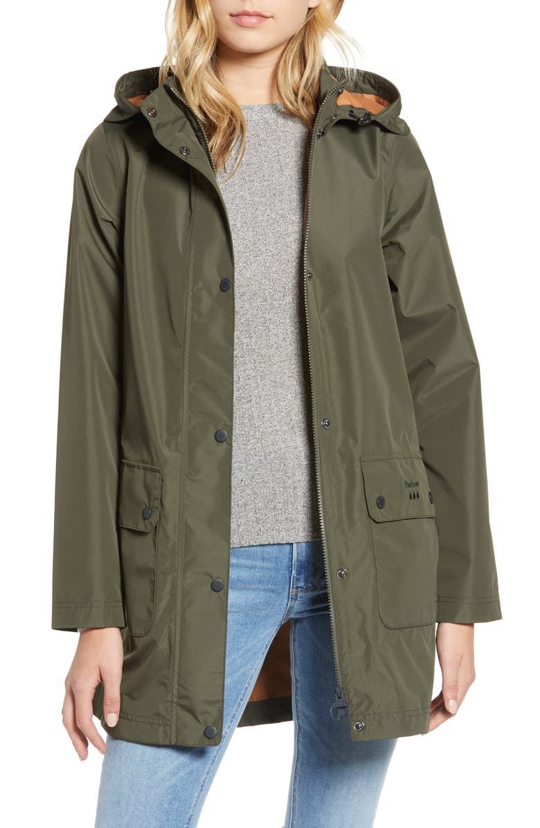 BARBOUR Inclement Waterproof Hooded Jacket, Main, color, OLIVE