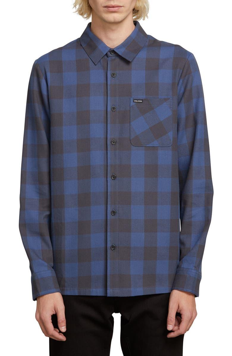 VOLCOM Joneze Buffalo Check Woven Shirt, Main, color, INDIGO