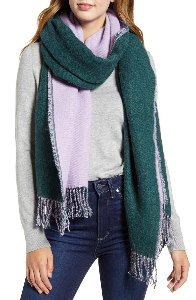 HALOGEN<SUP>®</SUP> x Atlantic-Pacific Two-Tone Fringe Scarf, Main, color, GREEN COMBO