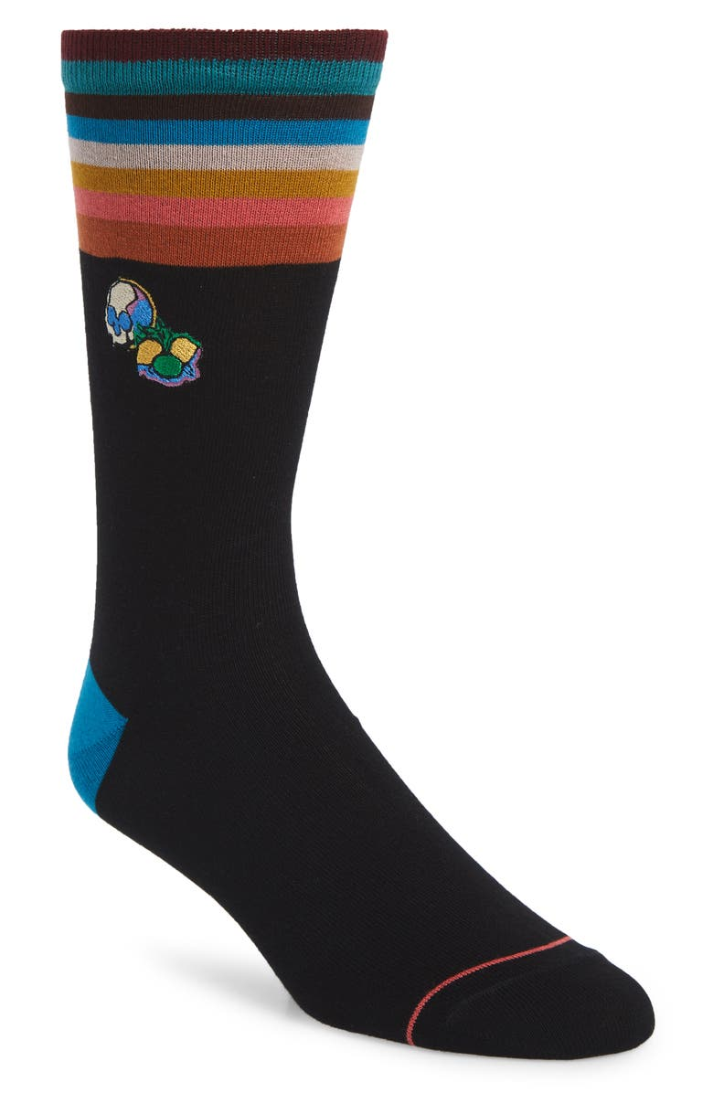 PAUL SMITH Artist Object Skull Socks, Main, color, BLACK