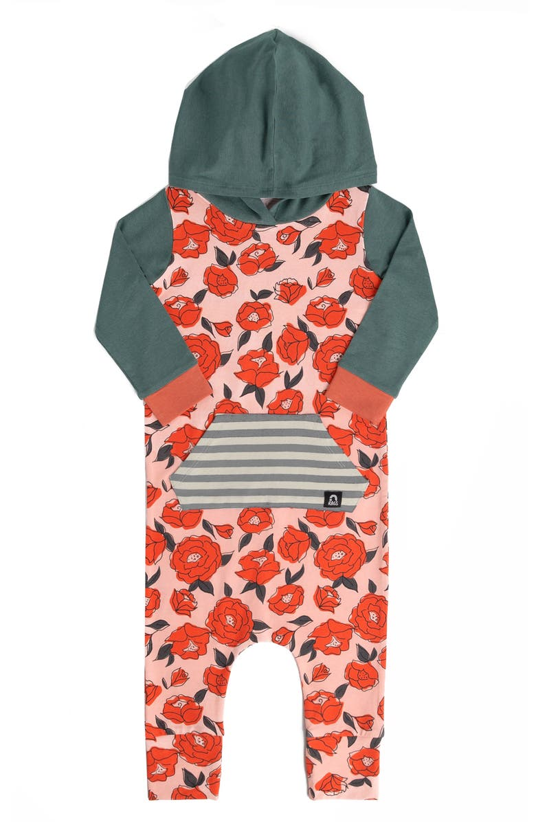 RAGS Kangaroo Pocket Hooded Romper, Main, color, CHINTZY ROSE FLORA