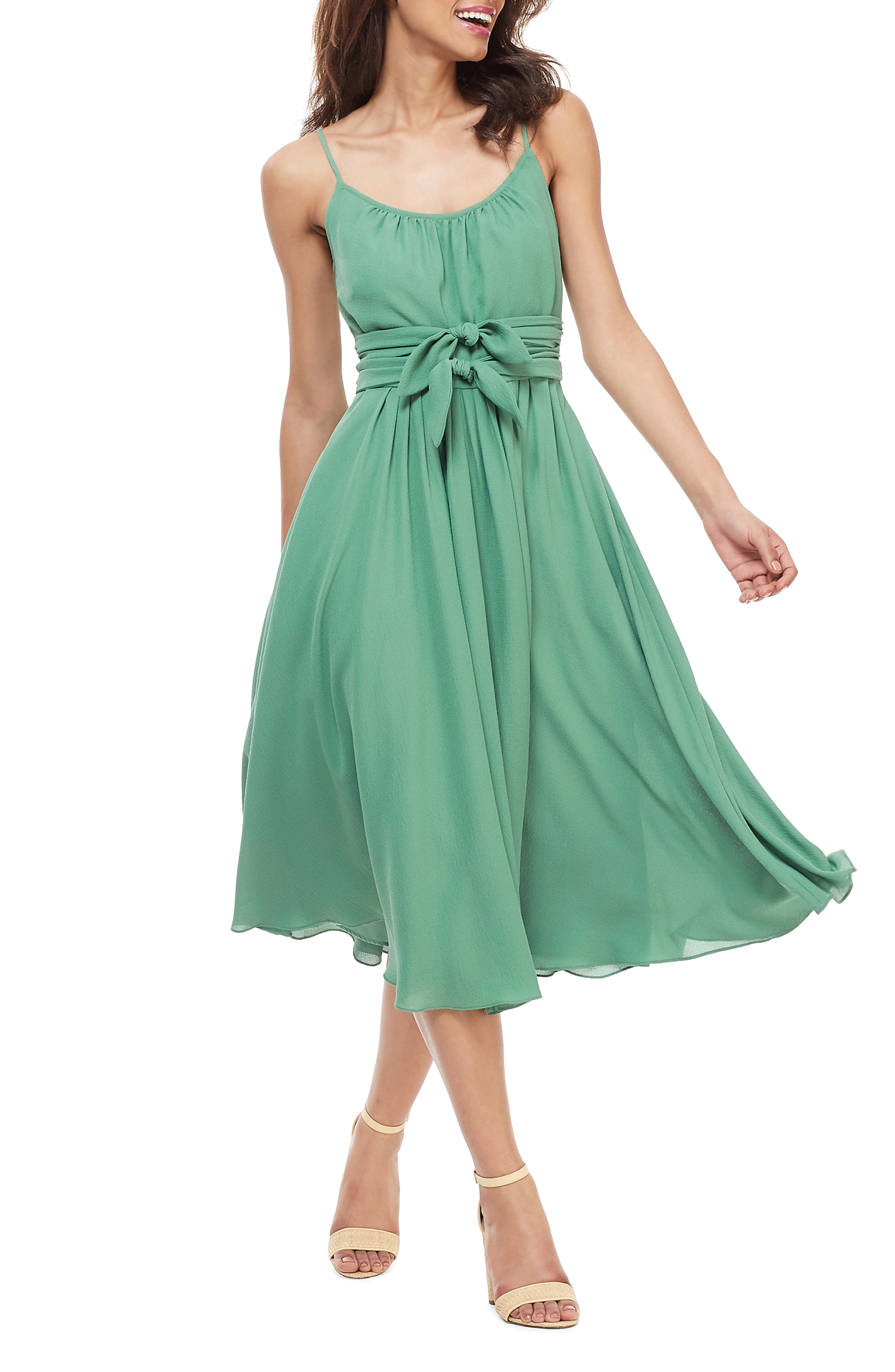 Gal Meets Glam Collection Elsie Double Front Bow Dress, Green