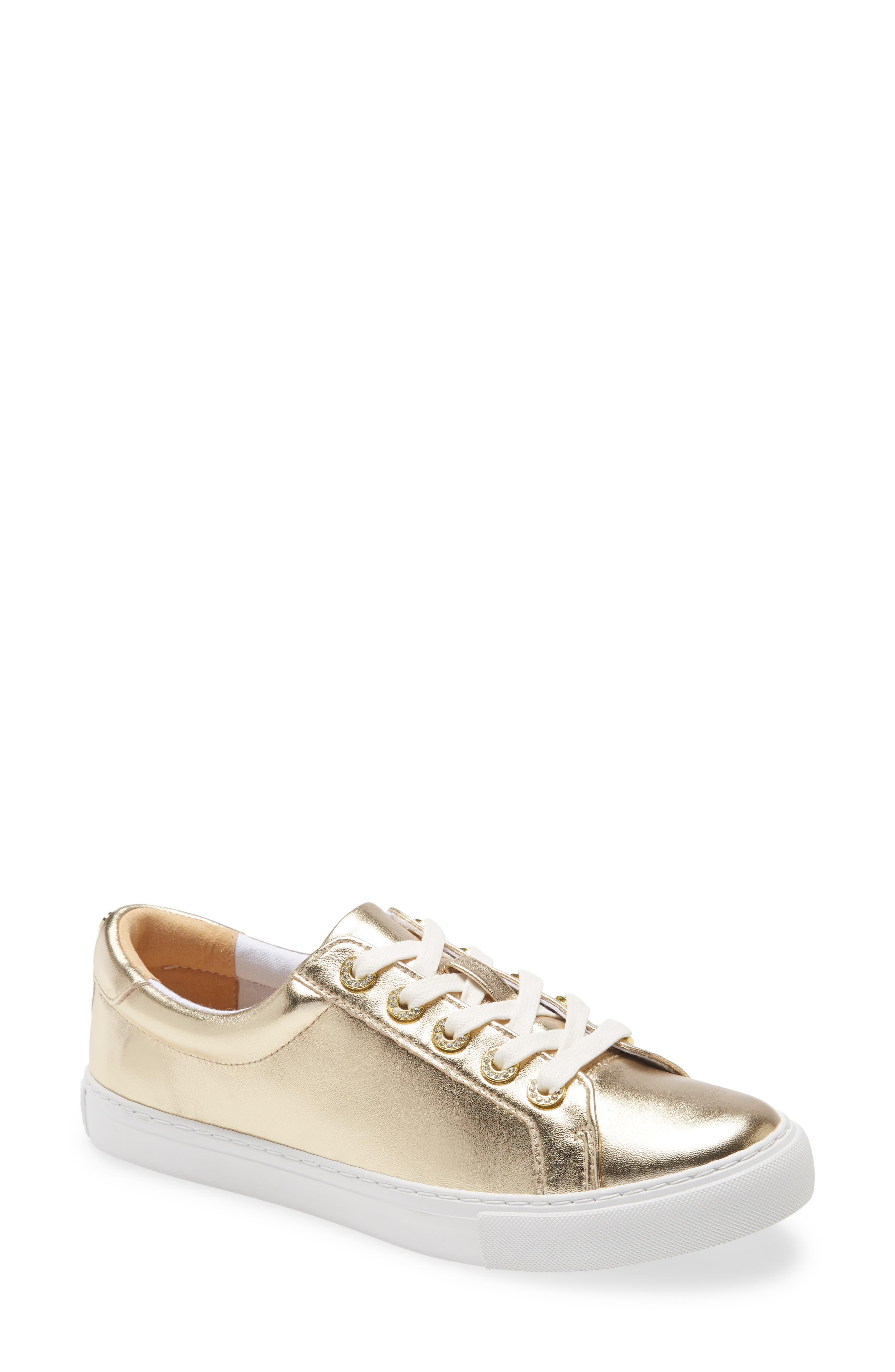 Lilly\\\'s casual glamour extends to your footwear in these tennis-white lace-ups accented by rhinestone eyelets and a glint of gold at the heel. Style Name: Lilly Pulitzer Lux Hallie Sneaker (Women). Style Number: 6043772. Available in stores.