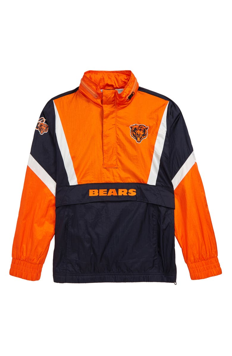 OUTERSTUFF NFL Logo Chicago Bears Crinkle Nylon Half Zip Pullover, Main, color, MARINE