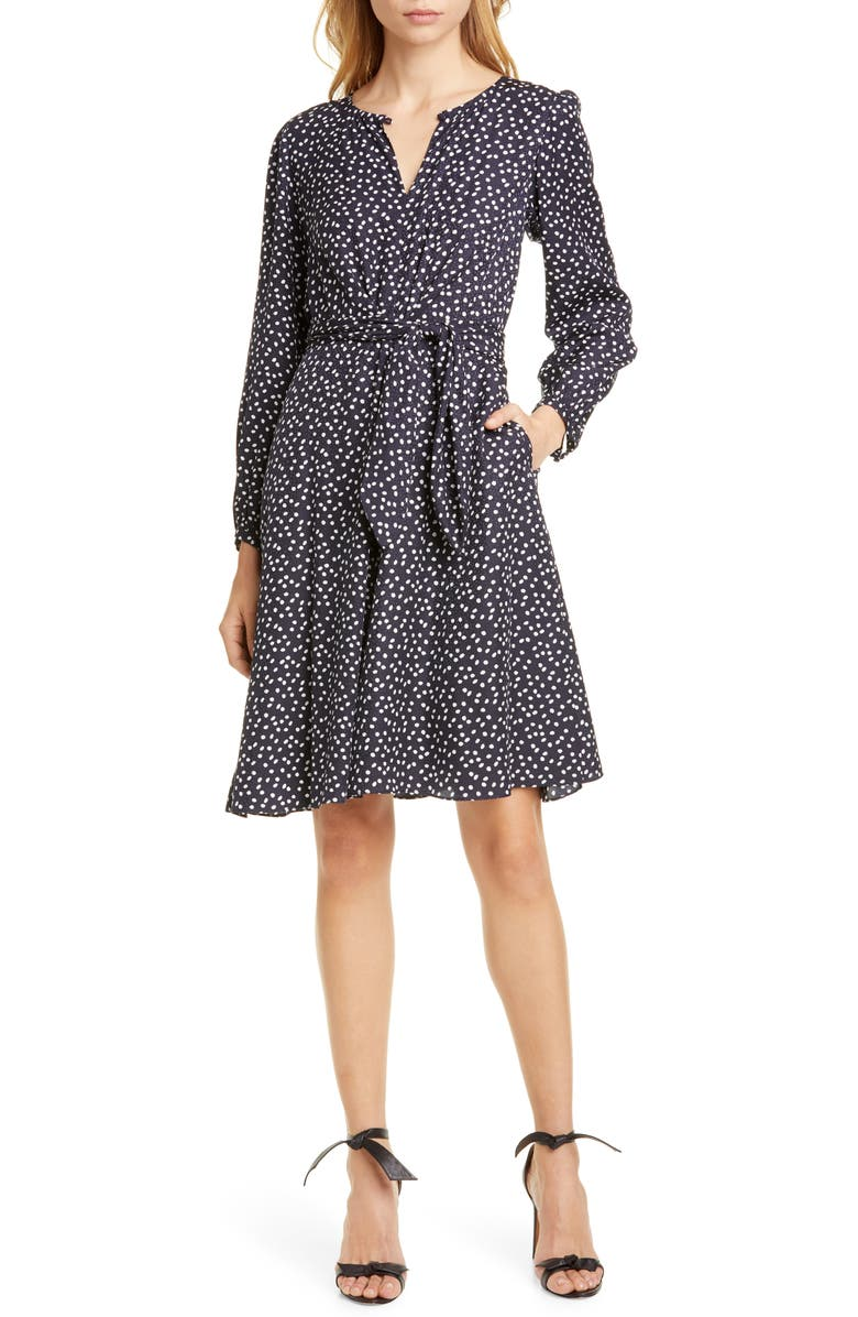 TAILORED BY REBECCA TAYLOR Pearl Dot Long Sleeve Silk Blend Dress, Main, color, NAVY COMBO