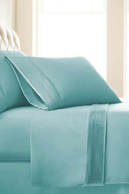 Image of SOUTHSHORE FINE LINENS Queen Sized Premium Collection Double Brushed Extra Deep Pocket Pleated Sheet Set - Sky Blue