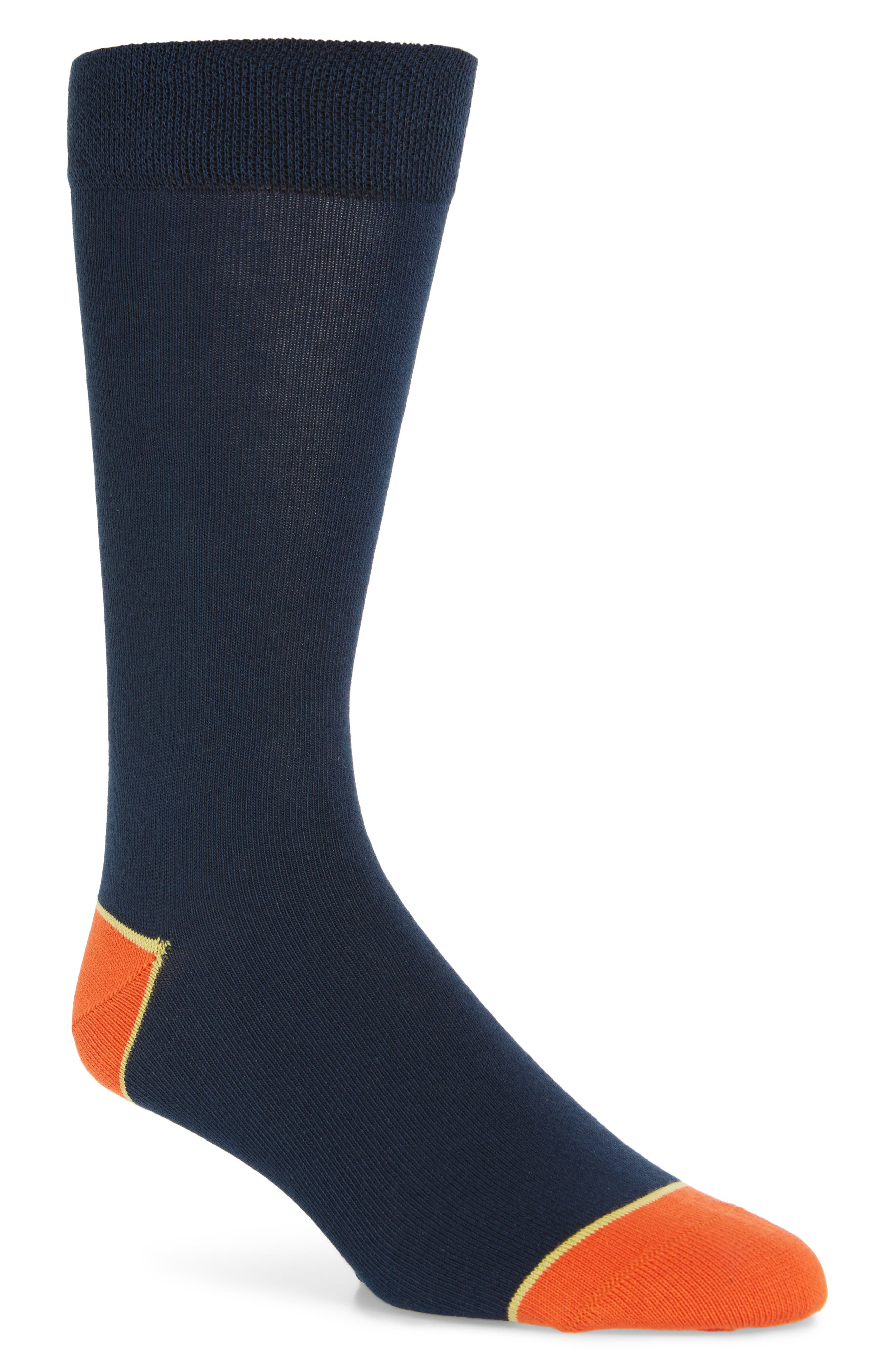 Jack Colorblock Cotton Blend Socks, Main, color, NAVY