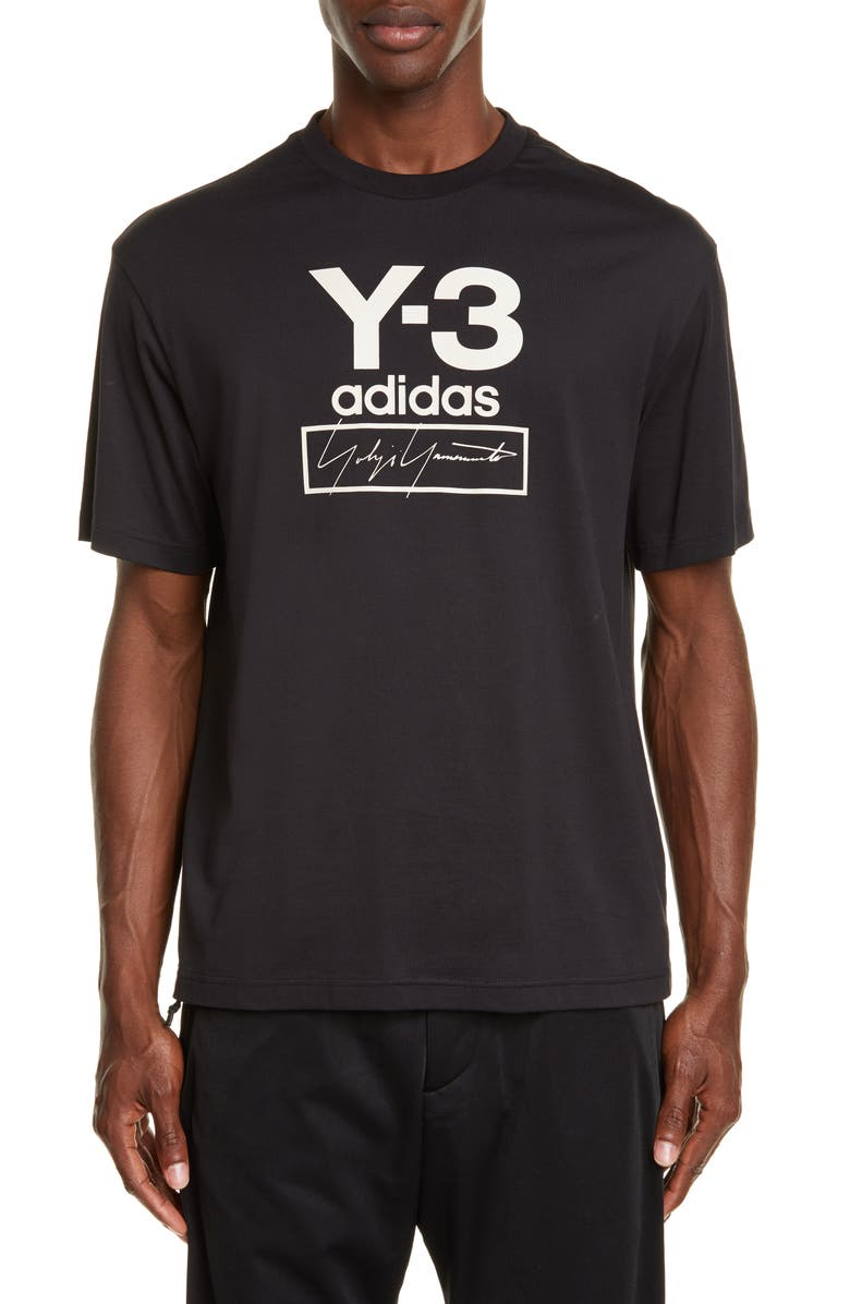 Y-3 Stacked Logo T-Shirt, Main, color, BLACK
