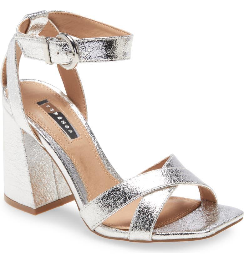 TOPSHOP Sacha Ankle Strap Block Heel Sandal, Main, color, SILVER