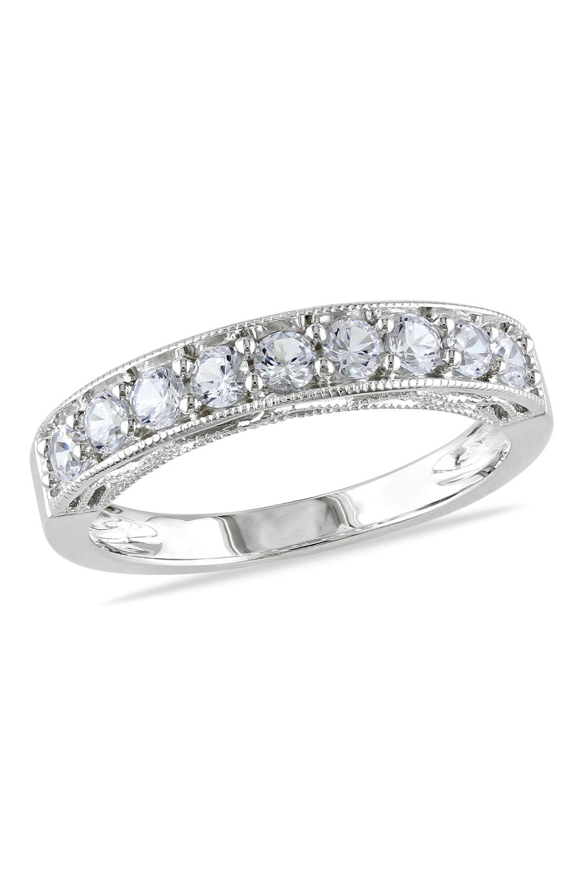 Image of Delmar Sterling Silver Created White Sapphire Band