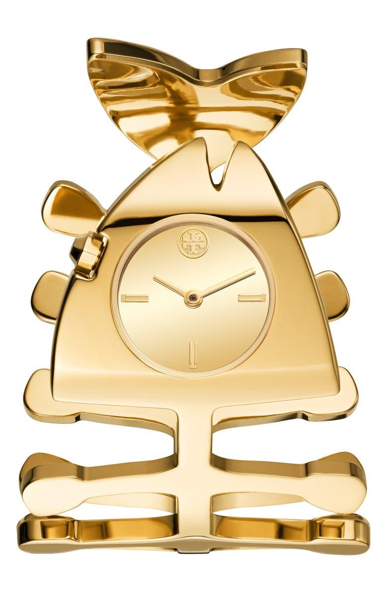 토리버치 Tory Burch The Fishbone Bangle Watch,gold