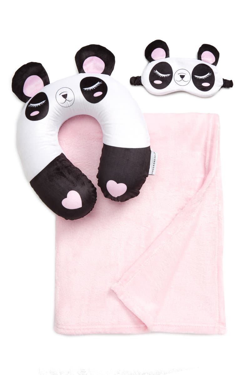 UNDER ONE SKY Panda Travel Pillow, Sleep Mask & Blanket Set, Main, color, 001