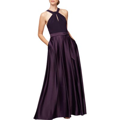 Alex Evenings Mixed Media Halter Gown, Purple