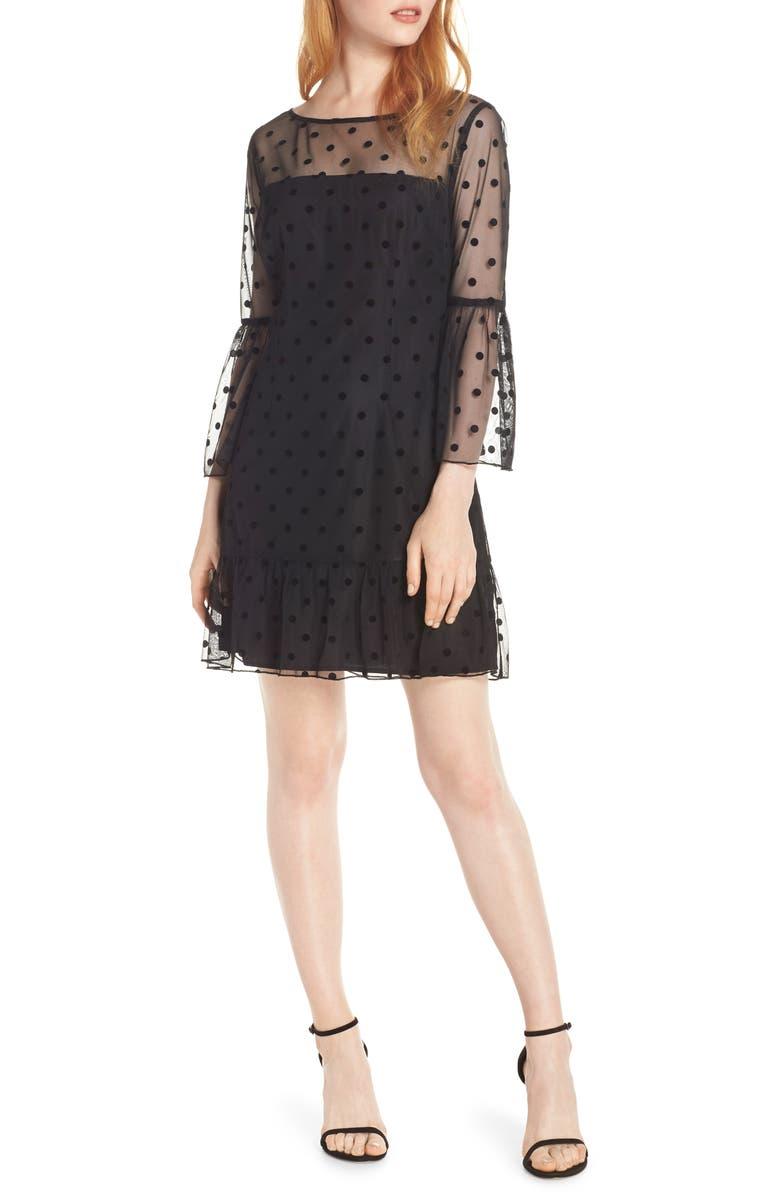 BB DAKOTA Swiss Dot Dress, Main, color, BLACK
