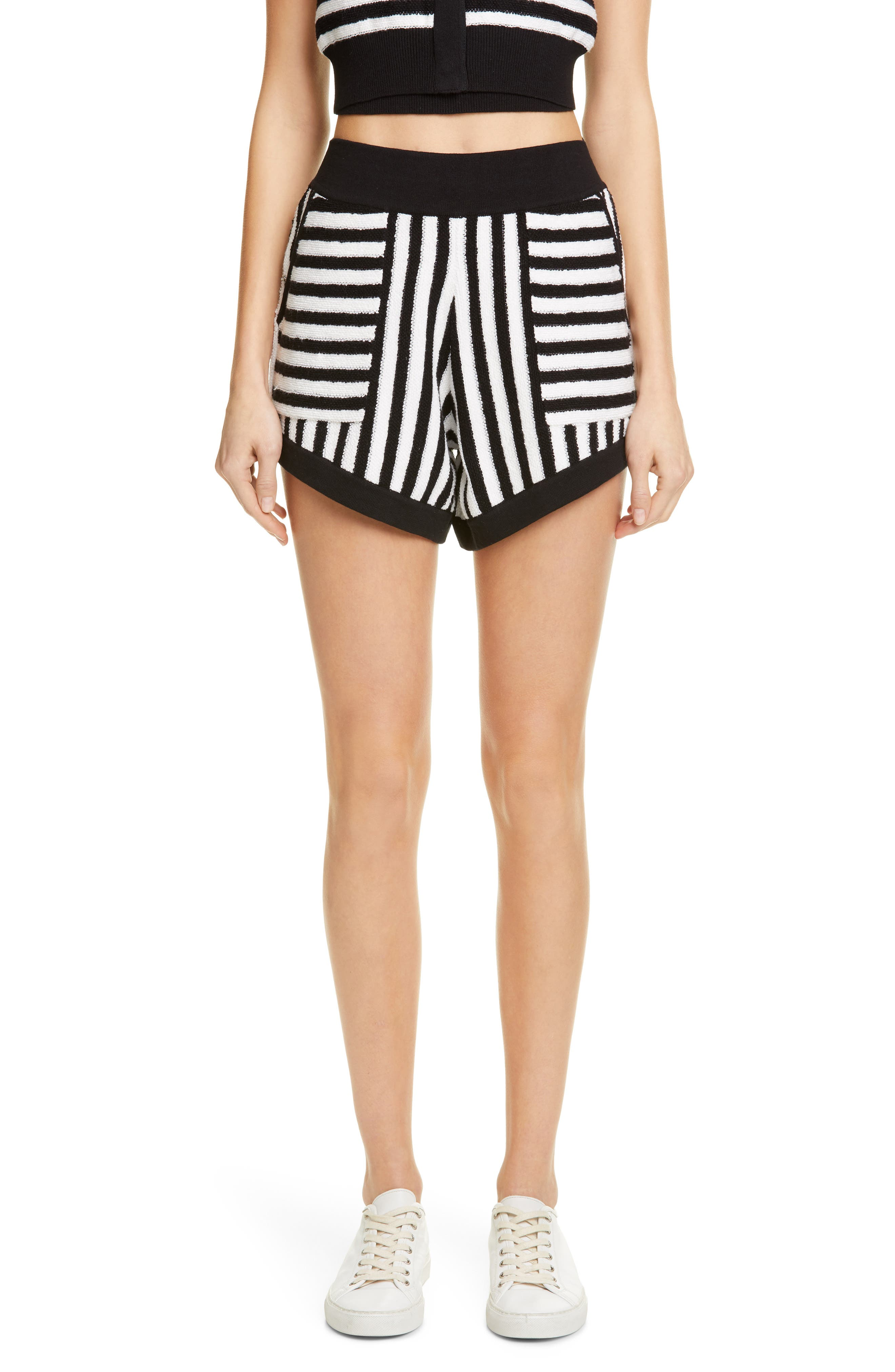 ,                             Striped Cotton & Cashmere Shorts,                             Main thumbnail 1, color,                             WHITE/ BLACK COMBO