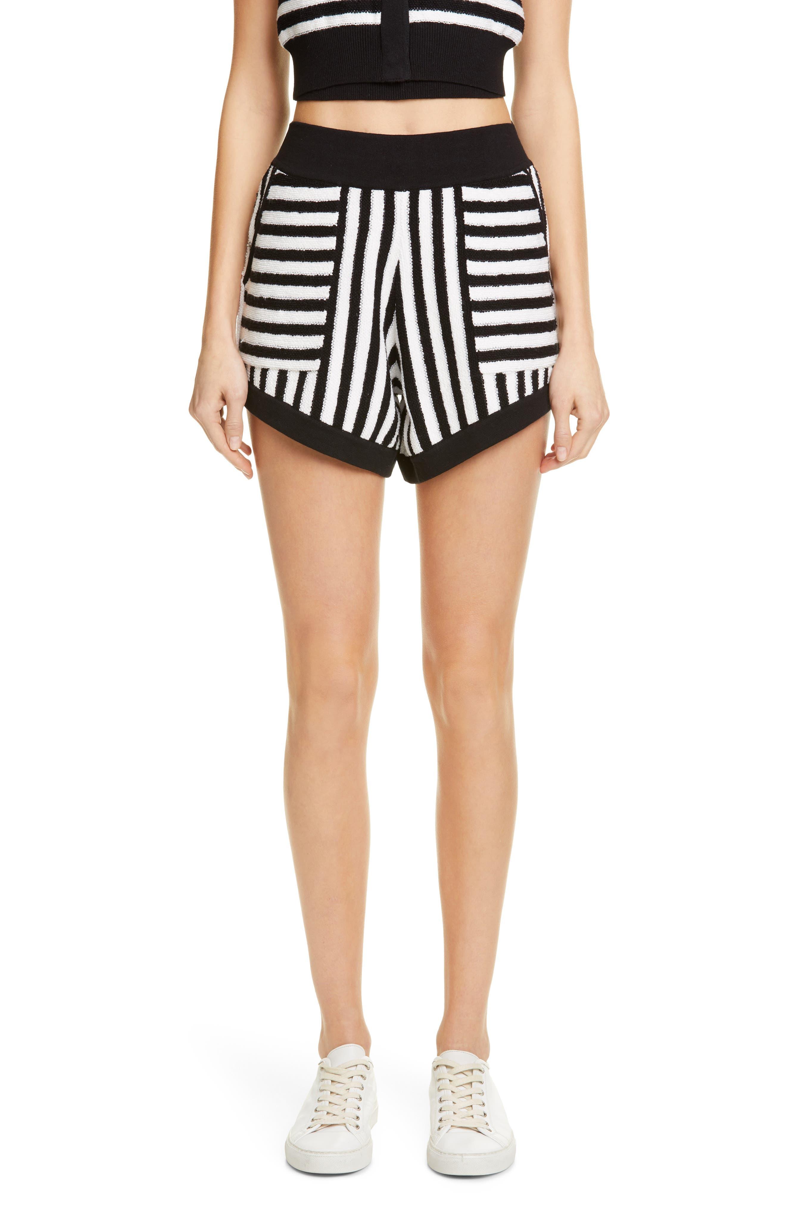 Striped Cotton & Cashmere Shorts, Main, color, WHITE/ BLACK COMBO