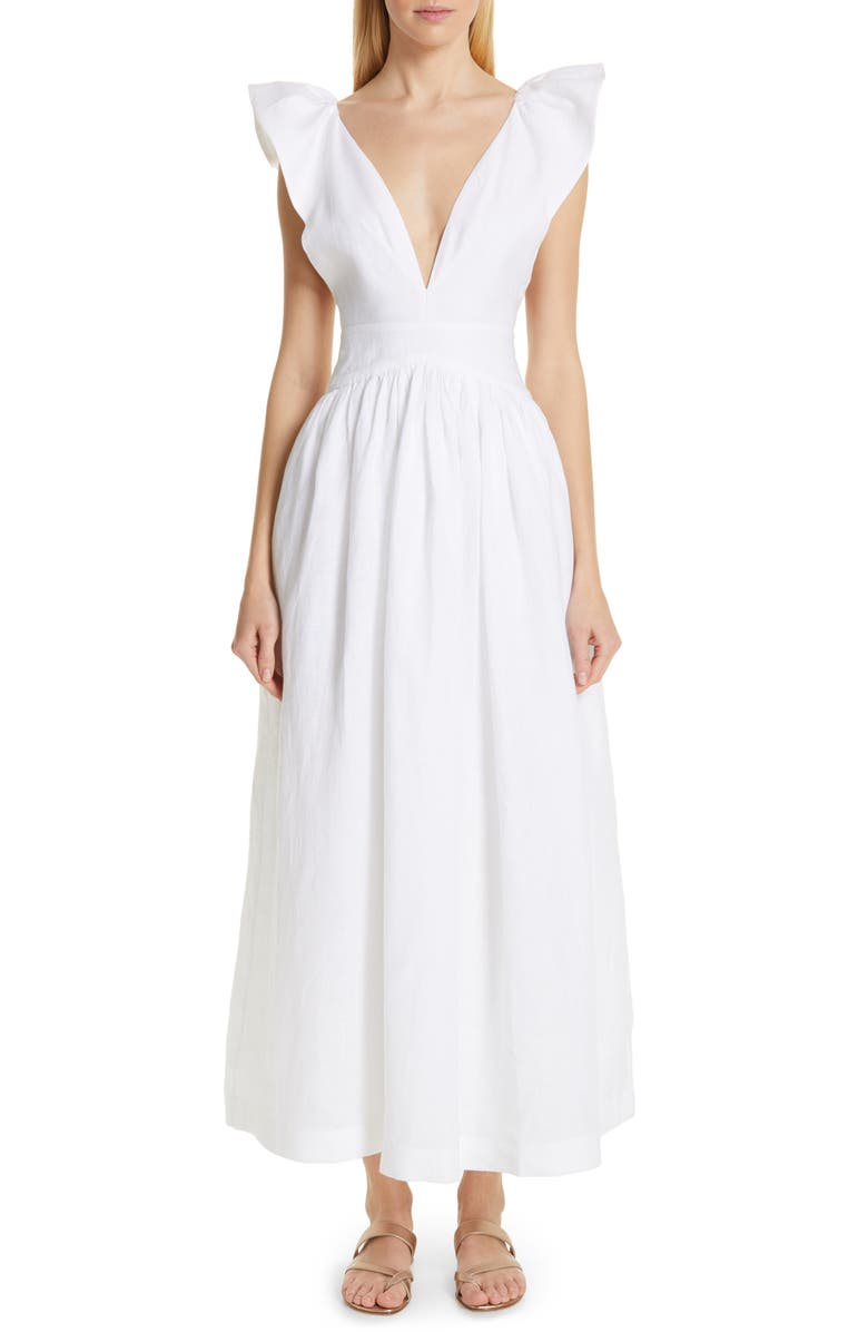 KALITA Persephone Linen Maxi Dress, Main, color, 100