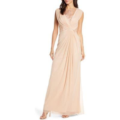 Tadashi Shoji Mesh & Corded Lace Gown, Pink