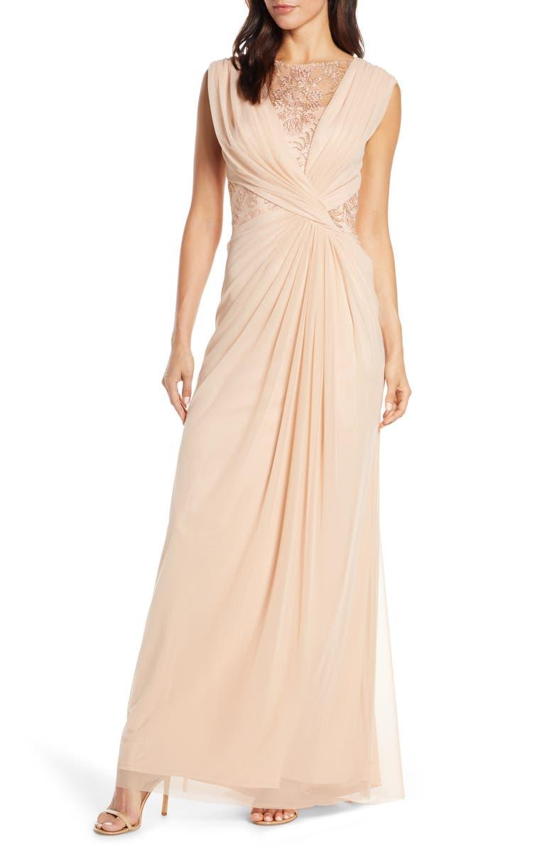 TADASHI SHOJI Mesh & Corded Lace Gown, Main, color, 650