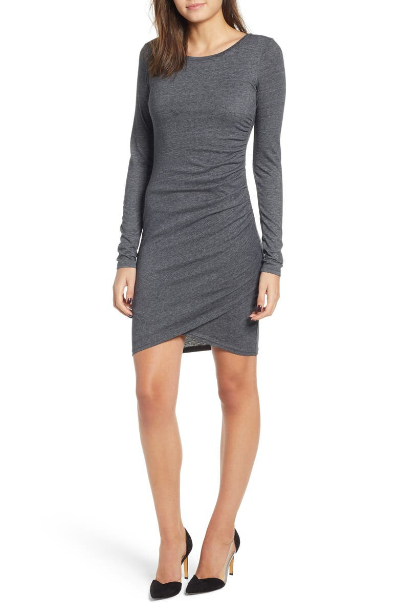 LEITH Ruched Long Sleeve Dress, Main, color, GREY MEDIUM CHARCOAL HEATHER