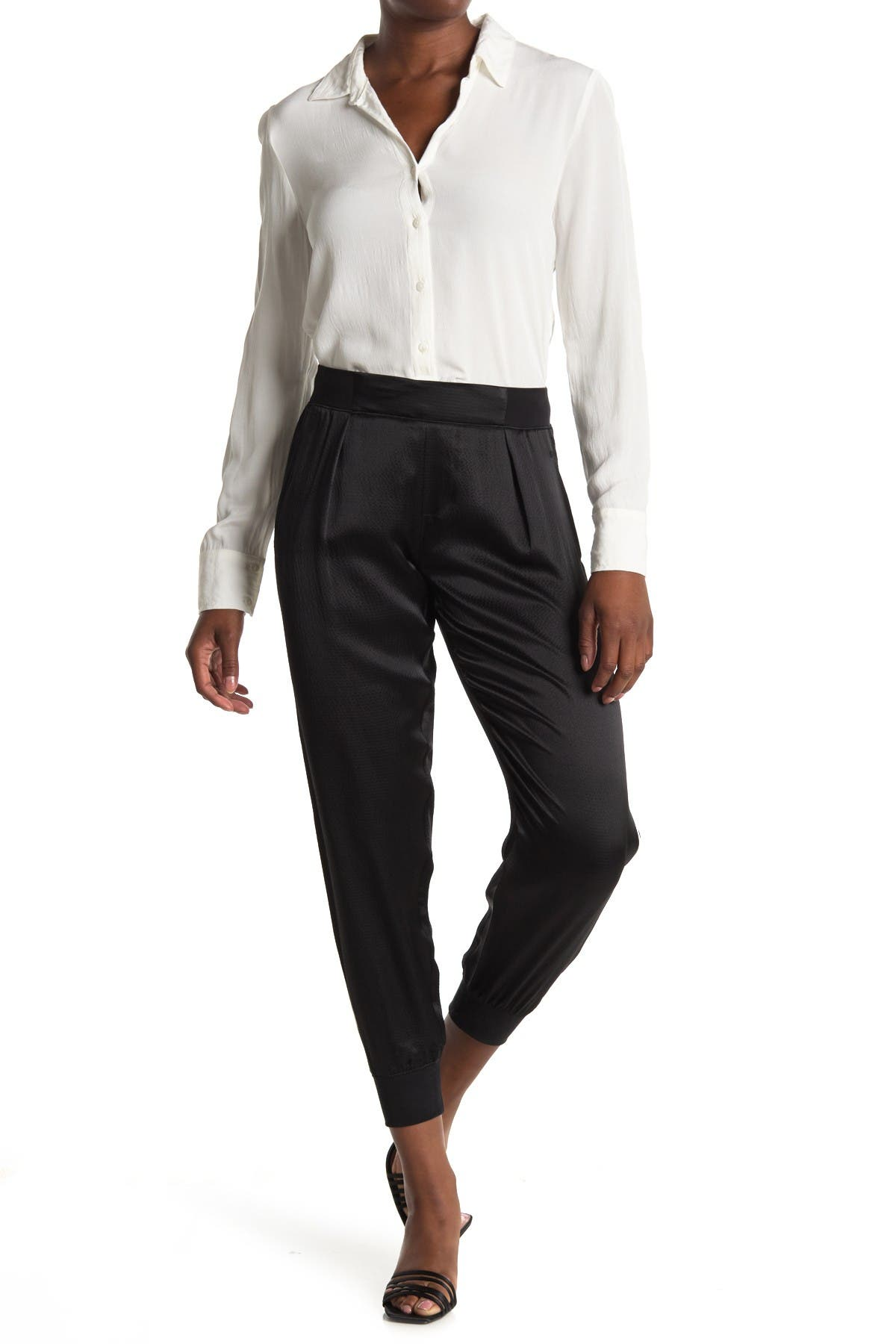 Atm Anthony Thomas Melillo Hammered Silk Joggers In Black