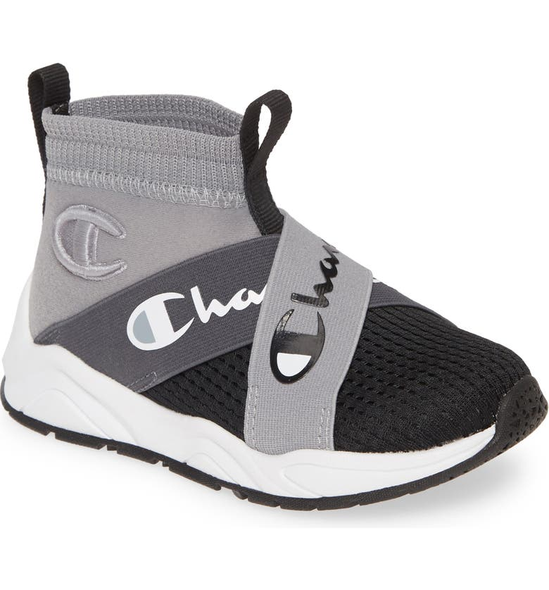 CHAMPION Rally Crossover High Top Sock Sneaker, Main, color, CONCRETE/ BLACK
