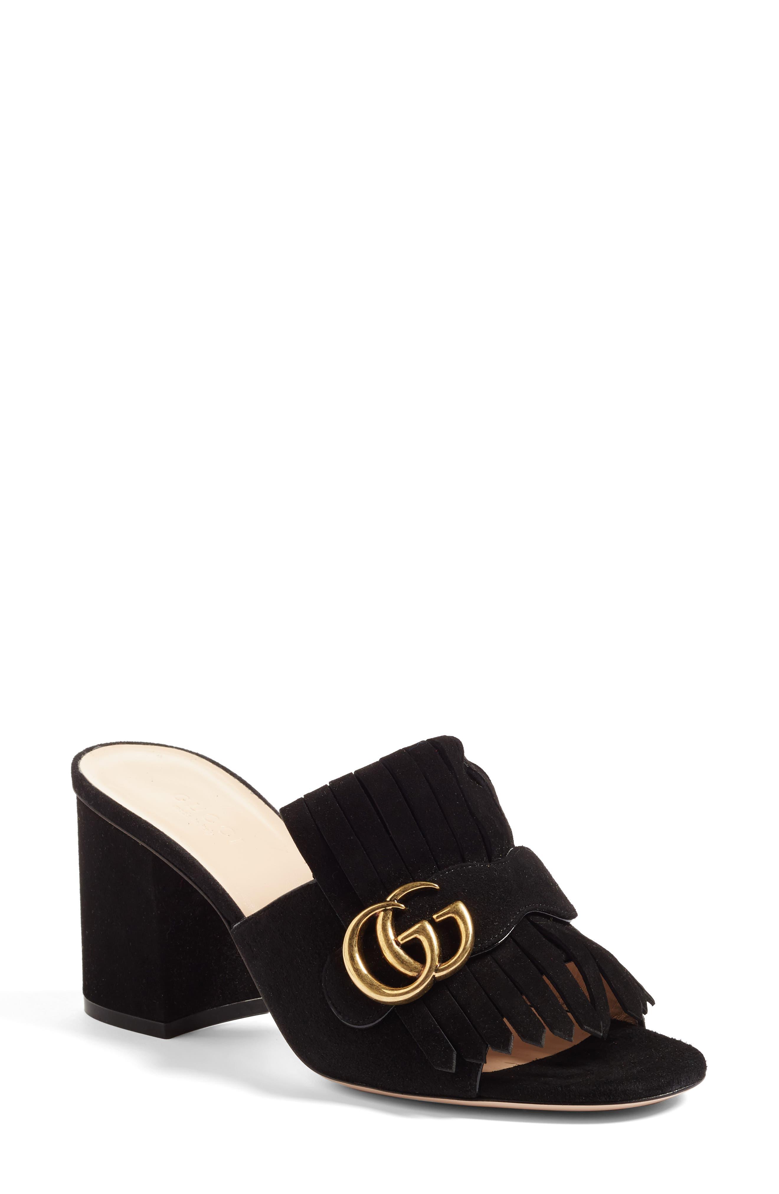 Gucci Gg Marmont Peep Toe Mule