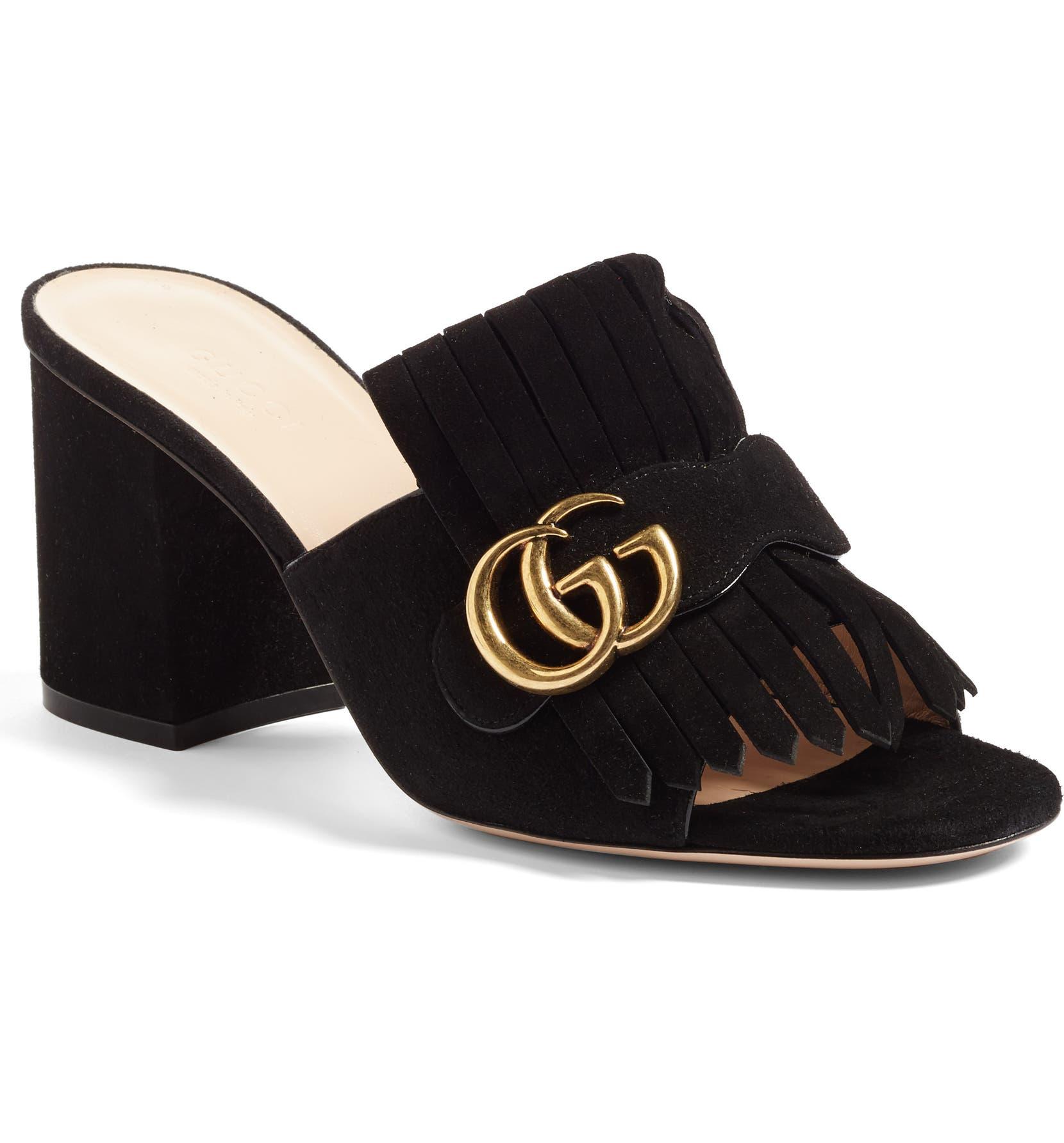 c0fe28906 Gucci GG Marmont Peep Toe Mule (Women)   Nordstrom