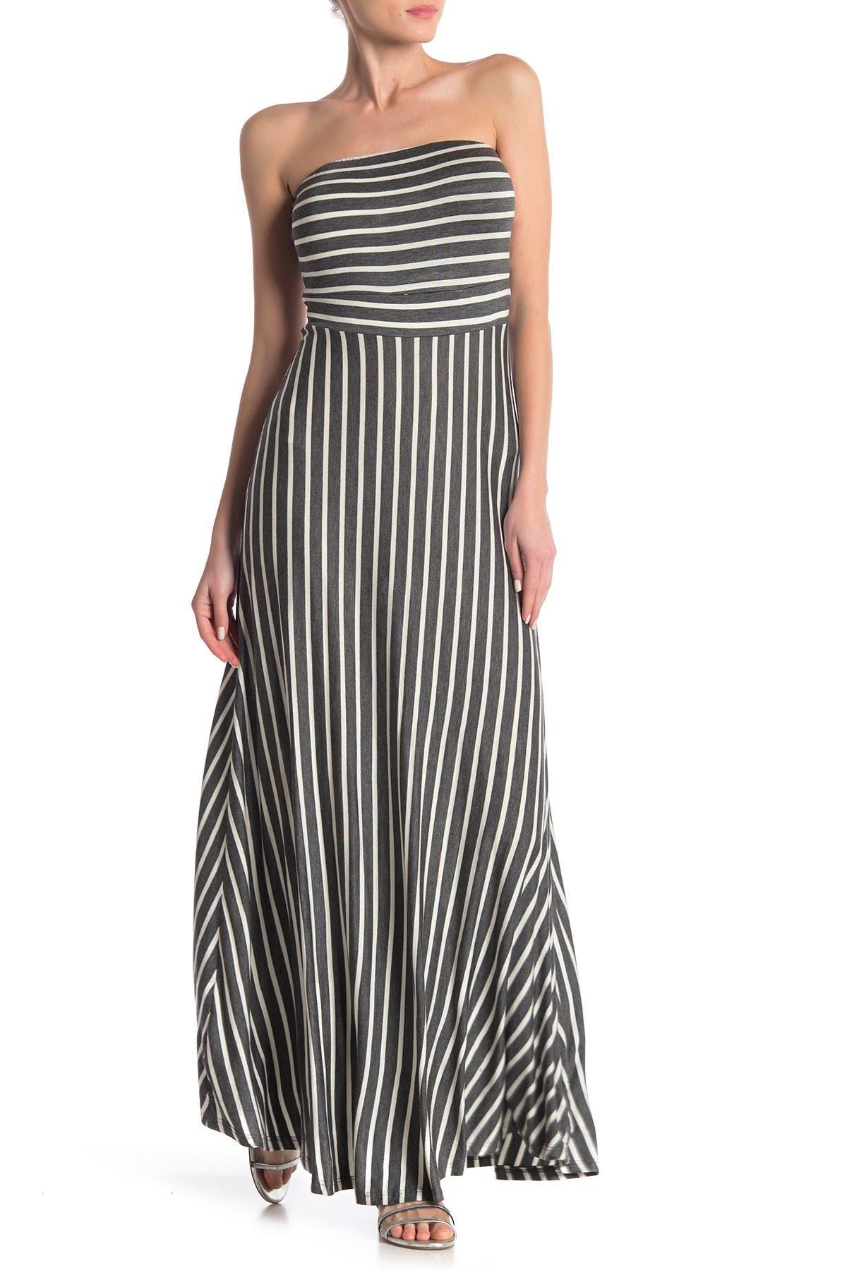 Image of WEST KEI Strapless Stripe Maxi Dress
