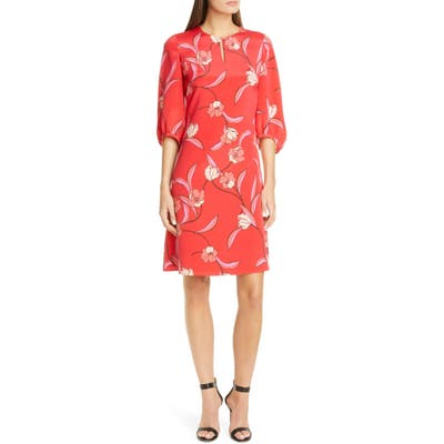 St. John Collection Spring Floral Print Silk Dress, Red