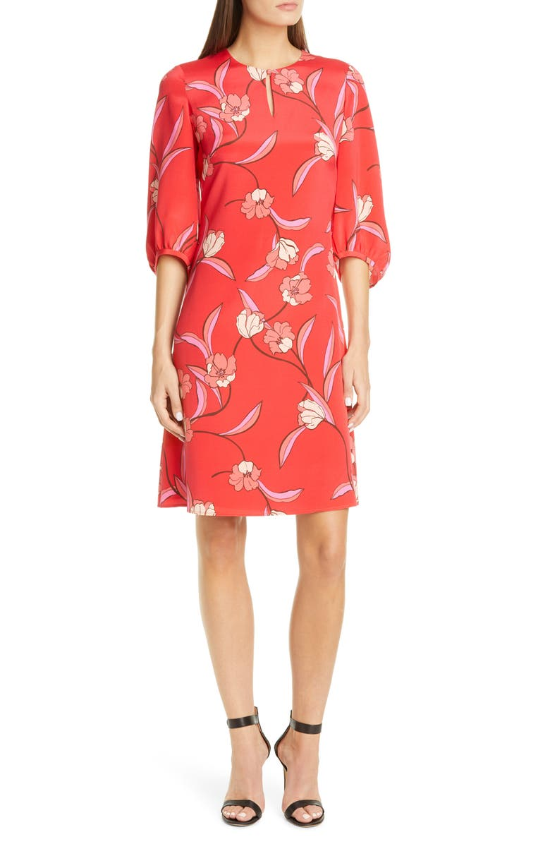 ST. JOHN COLLECTION Spring Floral Print Silk Dress, Main, color, POPPY MULTI