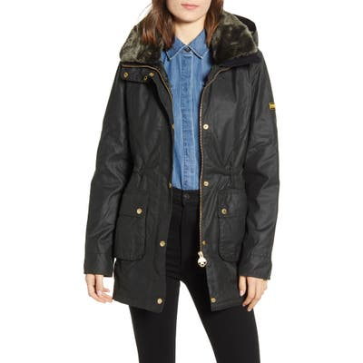 Barbour B.intl Kirk Hooded Waxed Cotton Jacket With Faux Fur Trim, US / 16 UK - Green