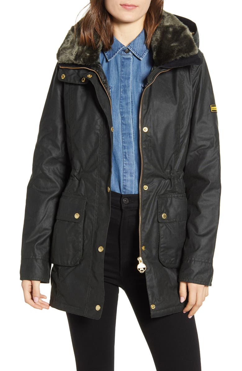 BARBOUR INTERNATIONAL Barbour B.INTL Kirk Hooded Waxed Cotton Jacket with Faux Fur Trim, Main, color, SAGE