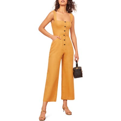 Reformation Tyler Button Linen Jumpsuit, Yellow