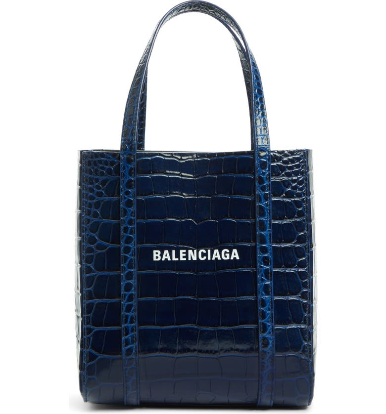 BALENCIAGA Extra Extra Small Everyday Croc Embossed Calfskin Tote, Main, color, NAVY