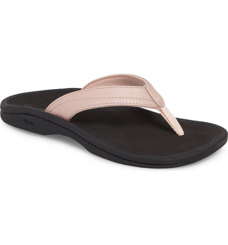 OLUKAI Ohana Flip Flop, Main, color, PETAL PINK/ BLACK FABRIC