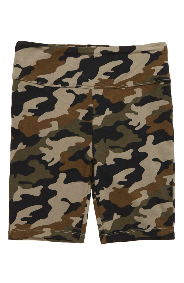 TUCKER + TATE Print Bike Shorts, Main, color, OLIVE SARMA CAMO