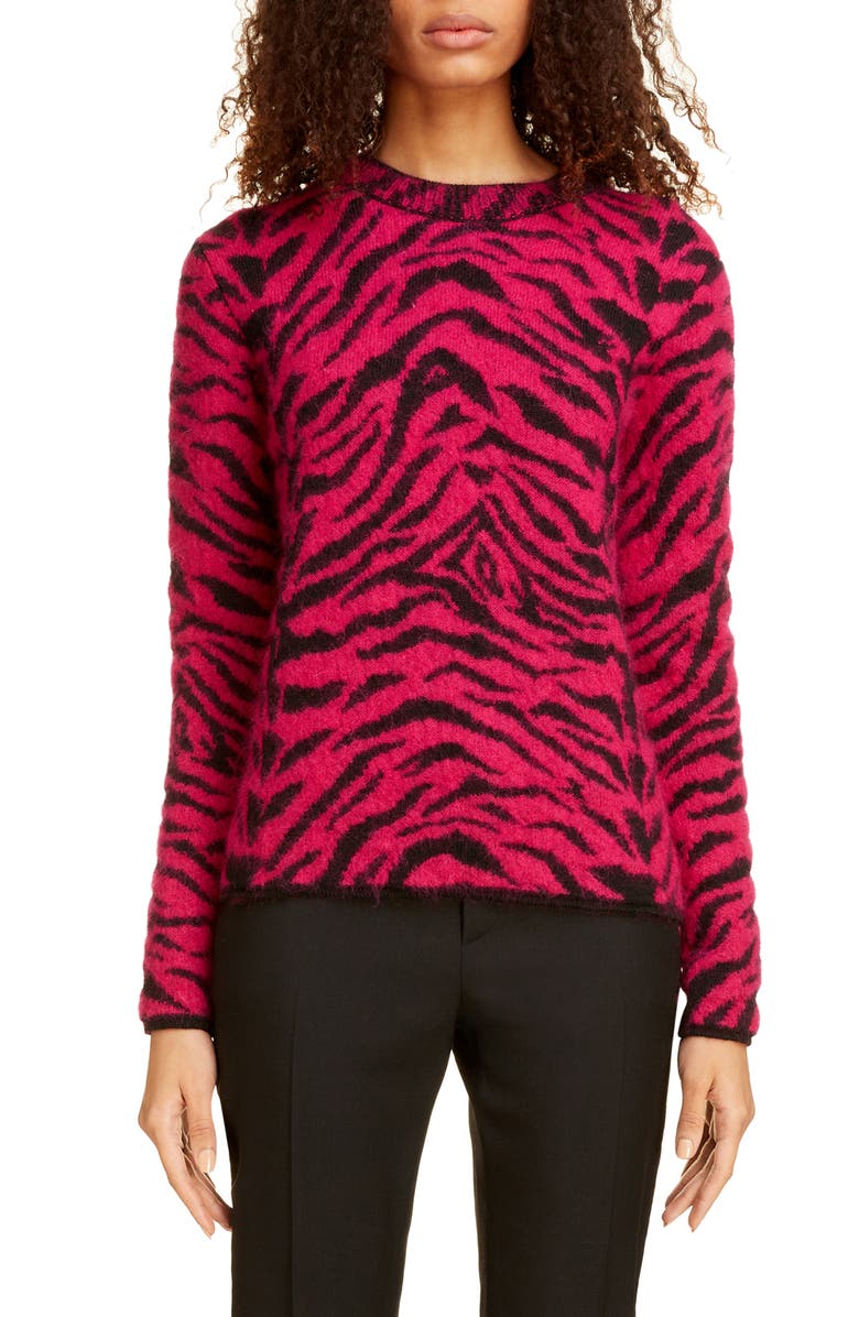 SAINT LAURENT Zebra Jacquard Sweater, Main, color, FUSHIA/ NOIR