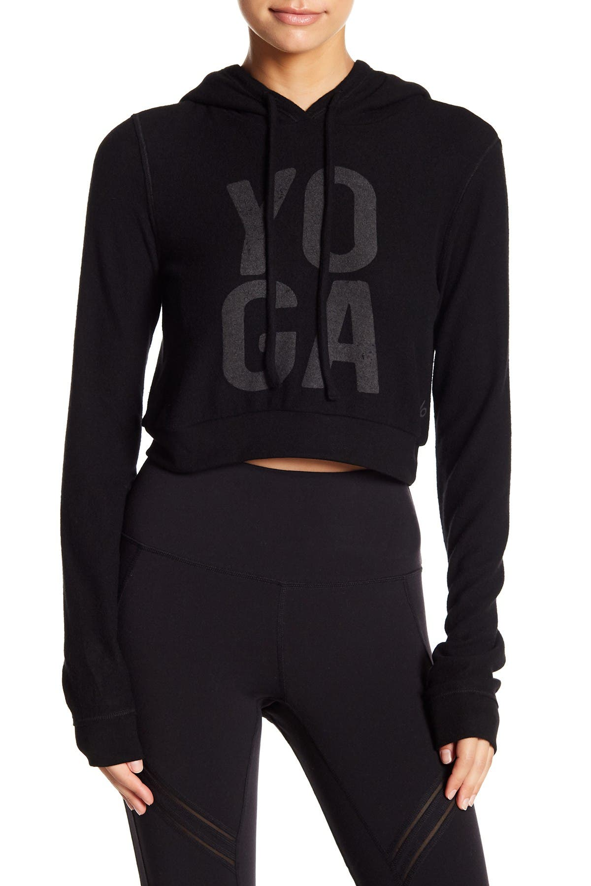 Alo Yoga Womens Jersey Cropped Hoodie