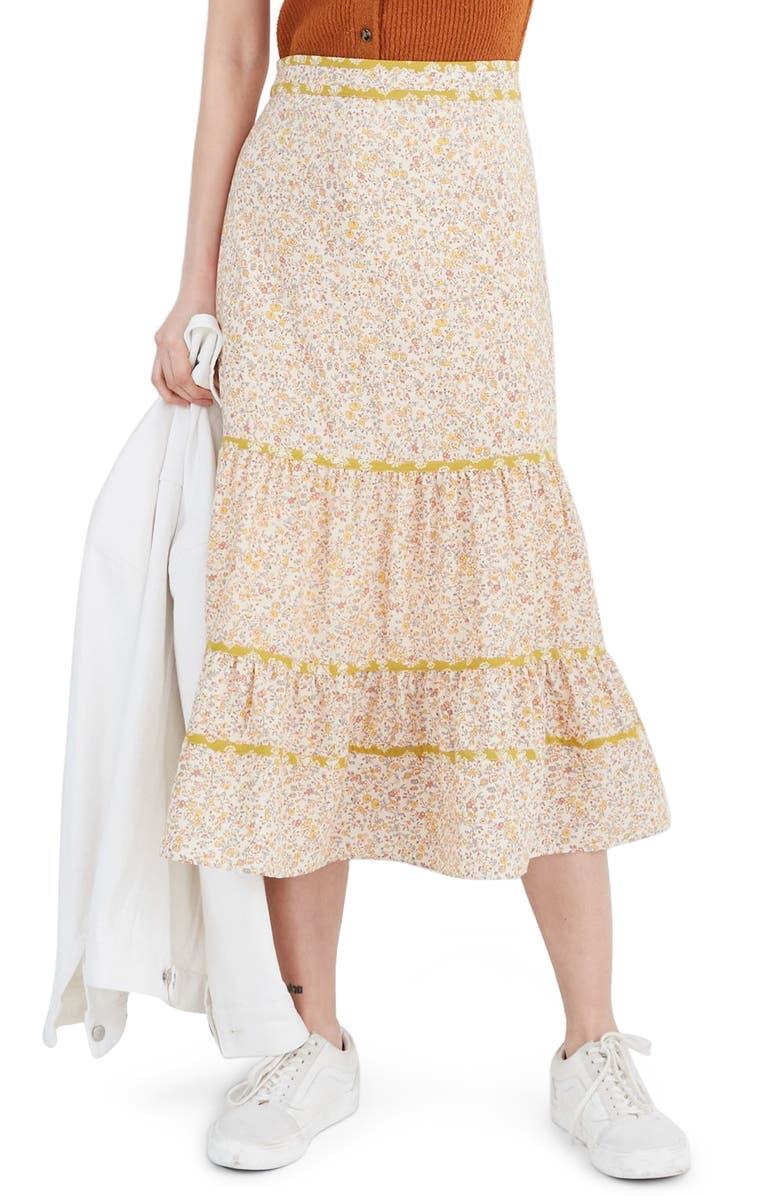 MADEWELL Blossoming Vines Mix Print Tiered Midi Skirt, Main, color, 700