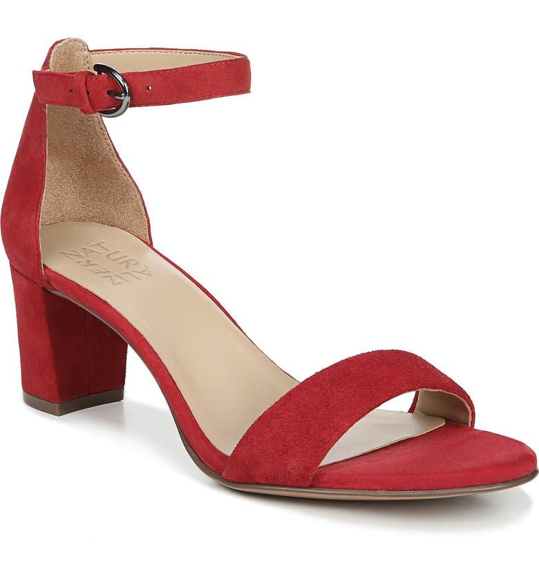 NATURALIZER Vera Ankle Strap Sandal, Main, color, HOT SAUCE SUEDE