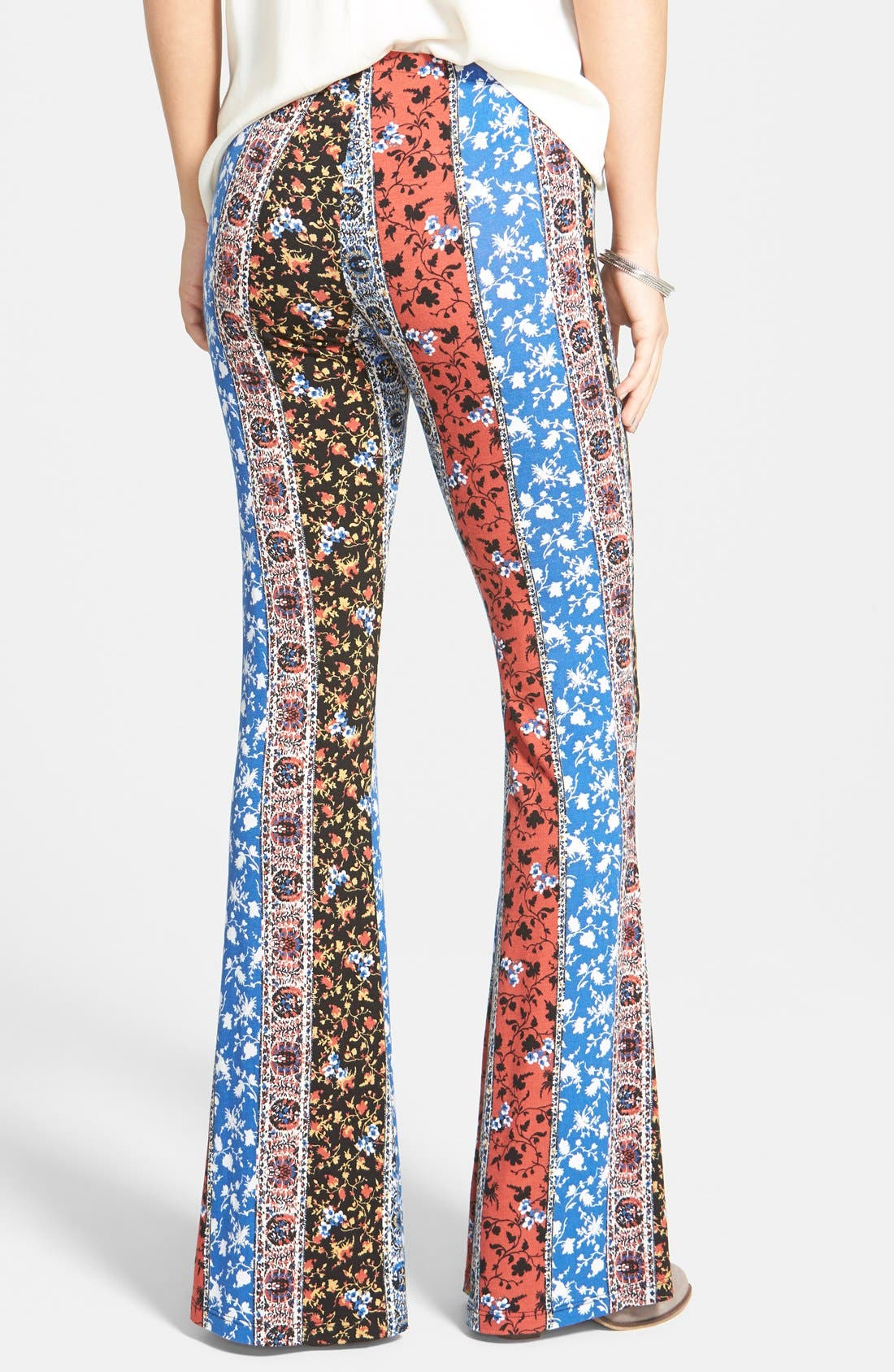 ,                             Mixed Print Flare Leg Pants,                             Alternate thumbnail 3, color,                             001