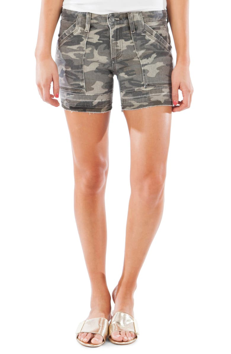 KUT FROM THE KLOTH Alice Release Hem Camo Shorts, Main, color, OLIVE
