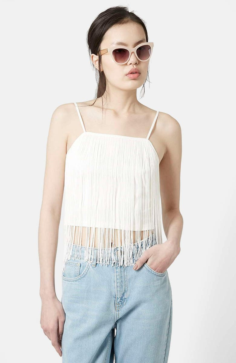 TOPSHOP Fringe Camisole, Main, color, 100
