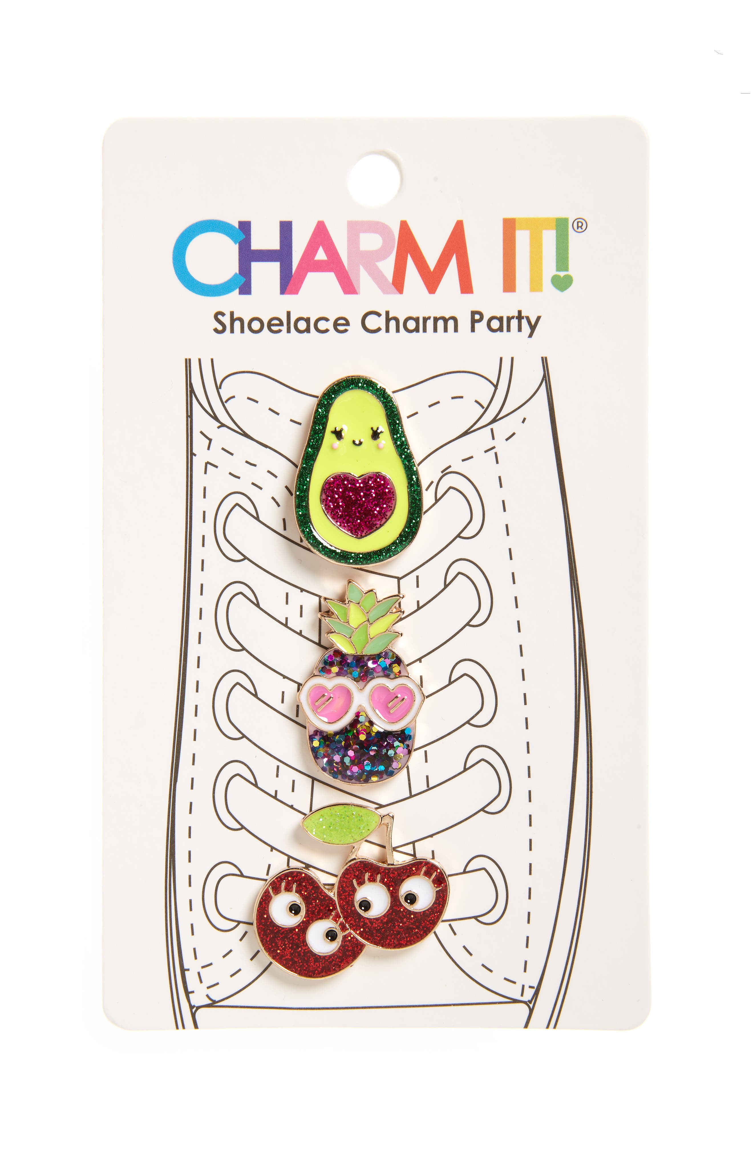 Girls Charm It 3Pack Glitter Fruit Shoelace Charms