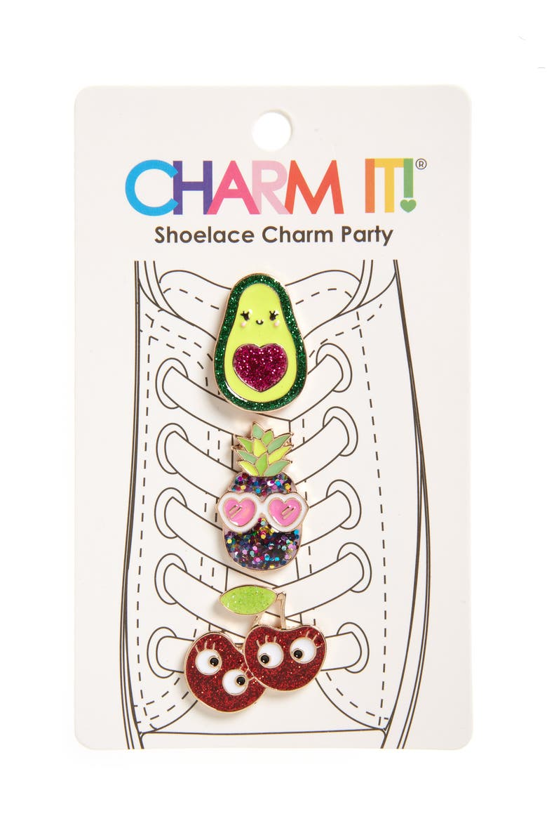 CHARM IT!<SUP>®</SUP> 3-Pack Glitter Fruit Shoelace Charms, Main, color, SILVER MULTI